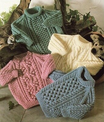 d4d9ce433c7cb7 BABY ARAN SWEATER and cardigan knitting pattern 99p - £1.75 ...