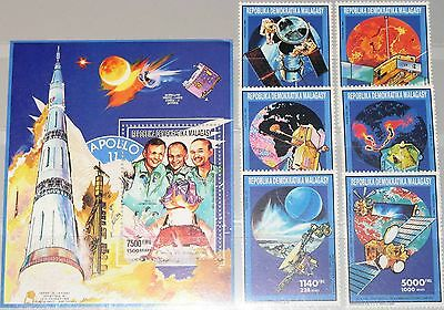 MADAGASCAR MALAGASY 1992 1345-50 Block 175 1045-50 Space Weltraum Satellites MNH