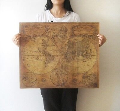 Large Vintage Style Retro Paper Poster Gifts 24 x 22 Inch Globe Old World Map