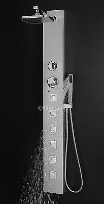"55"" Aluminum Rain Style Shower Tower Panel Massage System & Spray Jets BIG-7665"