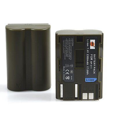 2x DSTE BP-511 BP511 Battery for Canon EOS 5D 10D 20D 30D 40D 50D 300D D30 D60