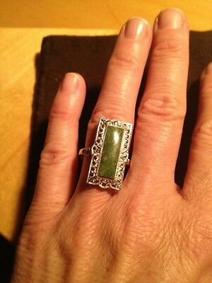 Vintage Theda Sterling Silver Ring With Green Stone Size 8