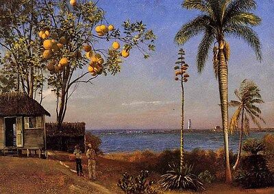 """Huge art Oil painting Albert Bierstadt A View in the Bahamas house by river 36"""""""