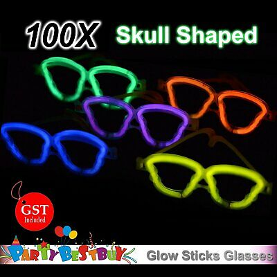 100X  Multi Color Glow Sticks Skull Shaped Glasses Light Party Glow In The Dark