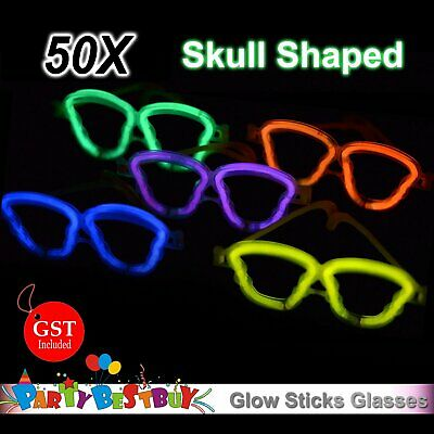 50X Multi Color Glow Sticks Skull Shaped Glasses Light Party Glow In The Dark