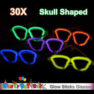 30X Multi Color Glow Sticks Skull Shaped Glasses Light Party Glow In The Dark
