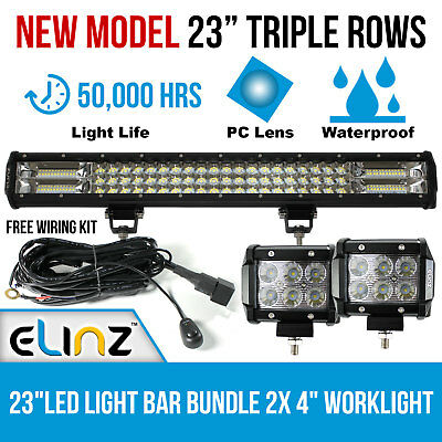 """23"""" 3 Rows LED Light Bar Philips bundle 4 inch 2x 18W CREE Driving Worklight 20"""""""