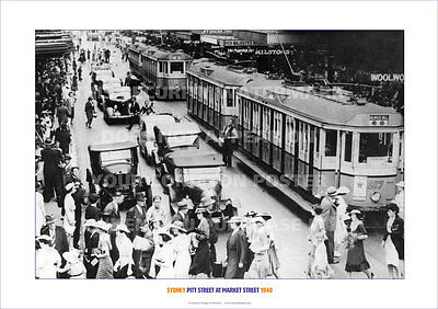 SYDNEY PITT & MARKET STREET 1948 TRAMS HERITAGE A3 POSTER PRINT PHOTO PICTURE x