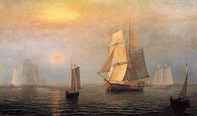 """Oil painting Fitz Hugh Lane - Shipping in Down East Waters sunset sail boats 36"""""""