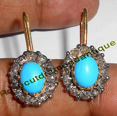 1.02ct Rose/Antique Cut Diamond Silver Turquoise Dangle victorian Look Earrings