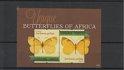 Ghana 2012 MNH Unique Butterflies of Africa 2v Sht Female Male Durbania Pallida