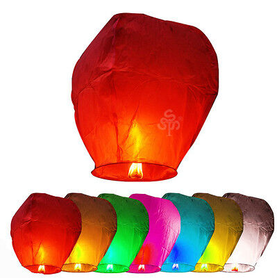 20PCS MIX COLORS LANTERNS CHINESE PAPER WISH LAMP SKY CANDLE FLYING FIRE PARTY