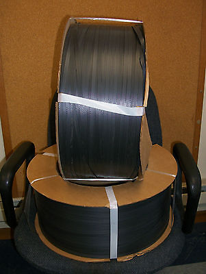 """2 ROLLS POLYBAND POLY STRAPPING COILS 8475FT 7.5"""" FACE .336 x .020"""