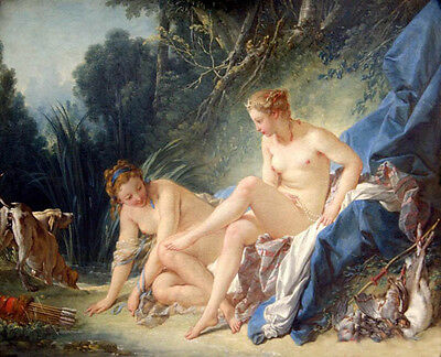 """Oil francois boucher Diana Leaving her Bath in landscape with Her prey 36"""""""