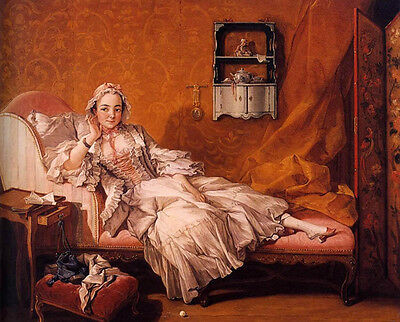 """Nice Oil painting francois boucher Lady Madame Boucher in bedroom canvas 36"""""""