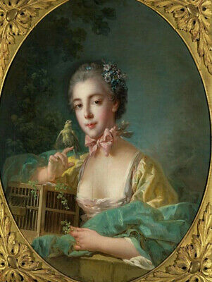 Stunning Oil francois boucher Portrait of the daughter of the artist Oval CANVAS
