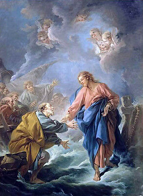 Stunning Oil francois boucher Peter trying to walk on water & Christ angels 36""