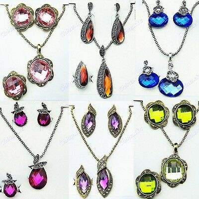 Charms 3Sets Crystal Necklace Earring Rings Three-piece Sets Wholesale Jewelry