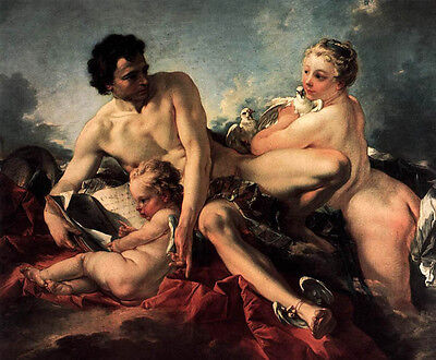 Art Beautiful Oil painting francois boucher - The Education of Cupid with birds