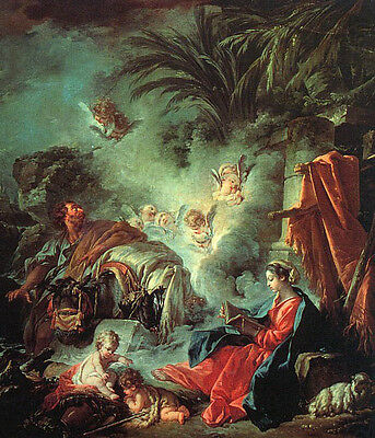 """Oil painting francois boucher - The Rest on the Flight into Egypt in evening 36"""""""