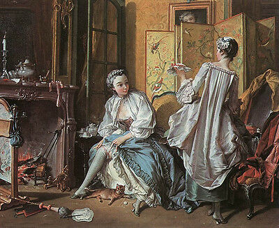 """Oil painting francois boucher - Toilette Young beauty girls in Living room 36"""""""