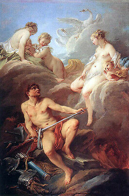 """Oil painting francois boucher - Venus Demanding Arms from Vulcan for Aeneas 36"""""""