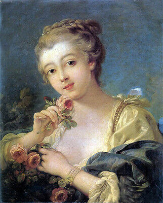 Oil painting francois boucher - Young Woman with a Bouquet of Roses canvas