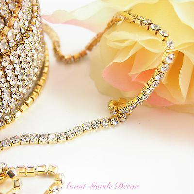 1mtr x 2.5-4mm Rhinestone Silver/Gold Chain Diamante Crystal Craft Decoration
