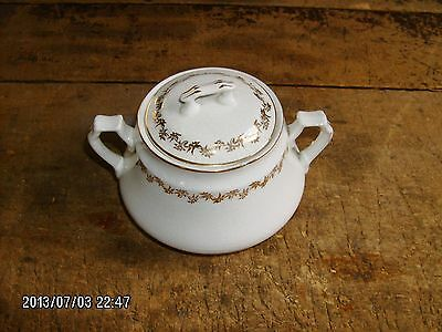 antique Knowles KT&K gold trim ironstone sugar bowl w/ lid