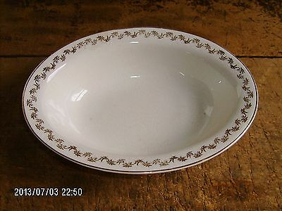 "antique Knowles KK&T gold trim ironstone 9 1/2"" oval serving bowl"