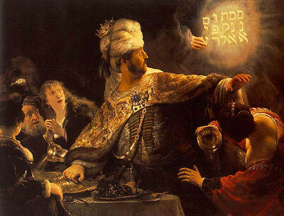 Huge Oil painting Rembrandt Netherlands - The Feast of Belshazzar Male portraits