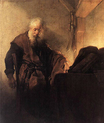 Art Oil painting Rembrandt Netherlands - St Paul at his Writing-Desk at night