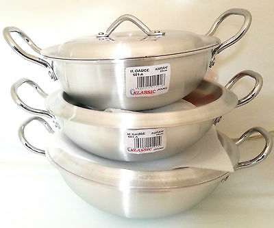 Klassic Round Base Wok/Karahi Aluminum Cooking Pots 3 sizes 22,24& 26cm FreeP&P