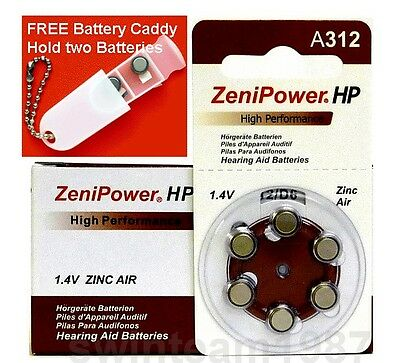 60 Zenipower Hearing Aids Aid Batteries Size 312 Expire 2016 FREE Battery Caddy