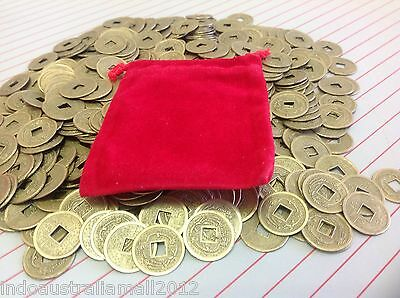 40 PCS Feng Shui Chinese Fortune Coins/I Ching/Double Dragon 19mm+Velvet Pouch