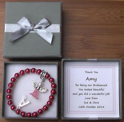 Flower Girl Thank You Gift Personalised Silver Plated Initial Bracelet Multi
