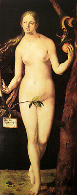 Wonderful Oil painting Albrecht Durer Adam and Eve (Eve) with fruit snake canvas