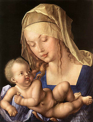 Huge Oil painting Albrecht Durer the Virgin Mary Madonna and Child & scarf