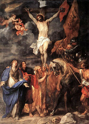 Dream-art Oil painting Anthony van Dyck Golgotha the death of Christ with angels
