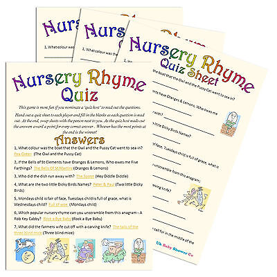 NURSERY RHYME QUIZ - Baby Shower Game,10 or 20 Party Players, Unisex Boy Girl