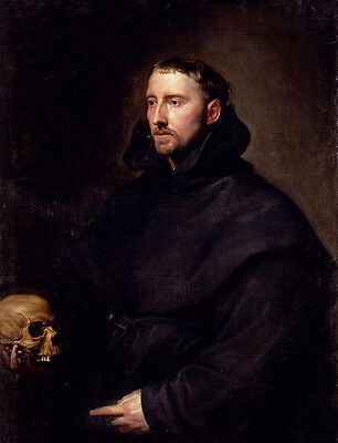 Oil Anthony van Dyck Portrait Of A Monk Of The Benedictine Order Holding A Skull