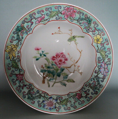 China Famille rose green hand painted Porcelain -open window flower bird  Plates