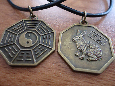 Chinese Zodiac Bronze Metal Rabbit & Yin Yang Bagua Pendant on Black Cord
