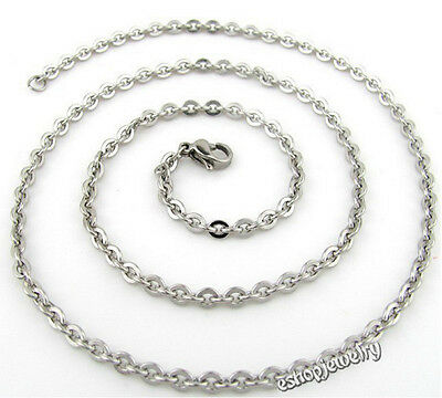 "Wholesale 12pcs Unisex 316L Stainless Steel O Chain Necklace 2.4mm 16""-30"""