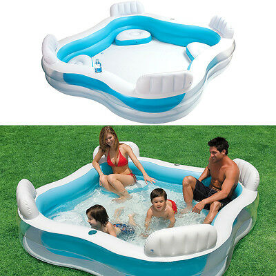 INTEX Swim Center Family Swimming Pool Center mit Getränkehalter Planschbecken