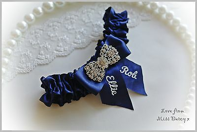 Navy Blue Personalised Miss Darcy Vintage Wedding Bridal Brides Hen Garter