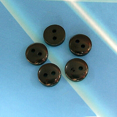 30 Tiny Mini Doll Clothes Small Eye Sewing Buttons 7mm 11L Solid Black S292