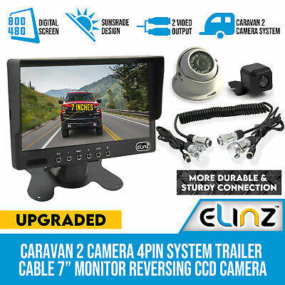 "Caravan Two Camera 4PIN System Trailer cable 7"" Monitor HD 12V/24V Reversing CCD"