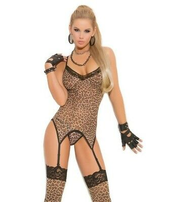 Leopard Print Camisette Cami Set Thigh Highs Stockings Garters Lace Trim 1411