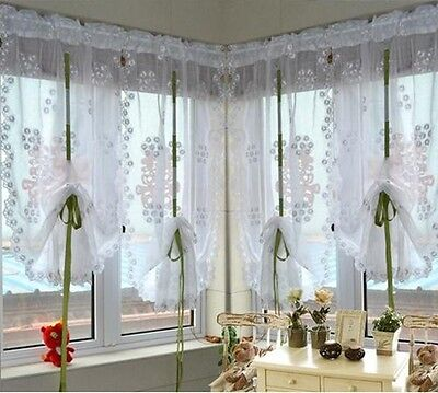One white lace pinch pleat kids curtains kitchen roman curtains C2 varied siz